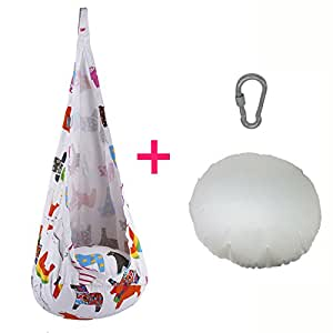 HappyPie Foldable Children Pod Swing Hanging Seat Indoor and Outdoor Hammock for Kid (White)