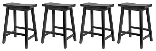 Square Winsome Seat (Winsome Wood 24-Inch Saddle Seat Counter Stool, Black (Pack of 4))