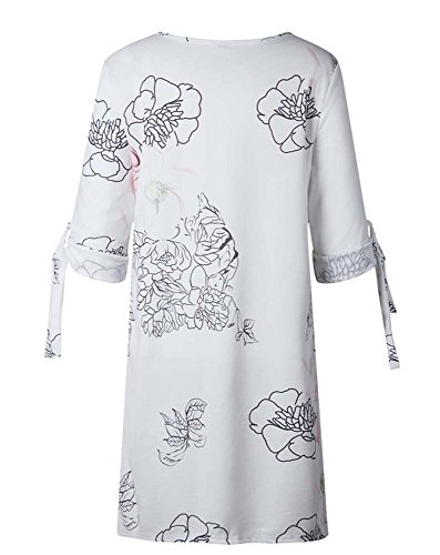 Mujeres Floral Bowkont Vestido Impreso Ocasional Vestido de Mini Las Cóctel de Partido Corto del 1FI5Zwdq