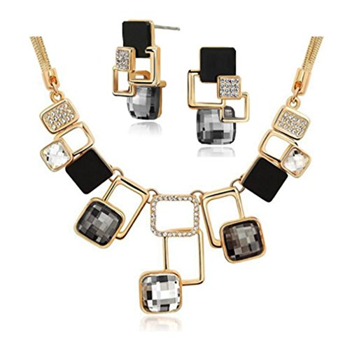 New Fashion 18K Gold Filled Rhinestone Crystal Acrylic Geometric Necklace Earring Jewellery Set For Women (White) (Crystal Rhinestone Filled Earring Necklaces)