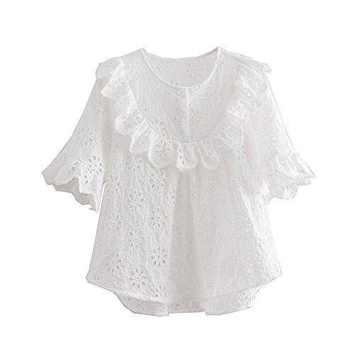 1854f918c HASHIT Bordado De Flores Simples A Cielo Abierto Mujeres Camiseta De Manga  Corta Tops De Cuello