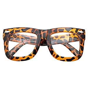 Vintage Inspired Geek Oversized Square Thick Horn Rimmed Eyeglasses Clear Lens (LEOPARD 9906, Clear)