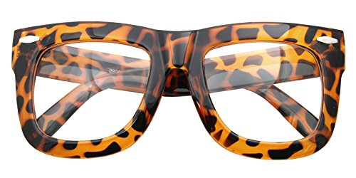 Vintage Inspired Geek Oversized Square Thick Horn Rimmed Eyeglasses Clear Lens (LEOPARD 9906, - Mens Glasses Frame Thick
