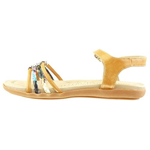 Angkorly Women's Fashion Shoes Sandals - Thong - Flowers - Rhinestone Flat Heel 2 cm Camel 5XEno5vF7