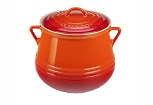 Le Creuset Heritage Stoneware Covered Bean Pot, 4-1/2-Quart, Flame