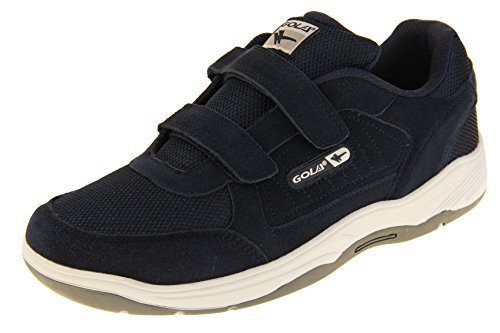 Gola Mens Ama202 Navy Blue Velcro Real Suede Leather Wide Fit EE Sneakers US 10 (Shoe Velcro Mens)