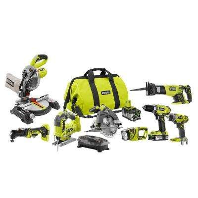 - Ryobi 18-Volt ONE+ Lithium-Ion Cordless (8-Tool) Combo Kit with (1) 4.0Ah Battery and (1) 1.5Ah Battery, Charger and Bag