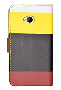 HHI Multi-Colored Design Wallet Case with Metallic Clasp for HTC One(M7) - Black/Yellow (Package include a HandHelditems Sketch Stylus Pen)
