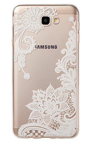 Galaxy J7 V, Galaxy J7 Prime, Galaxy J7 Perx, Galaxy Halo, Galaxy J7 2017, Wubebe Ultra Thin Clear Art Pattern Crystal Gel TPU Rubber Flexible Slim Skin Soft Case (Floral (Pink Halo Pattern)