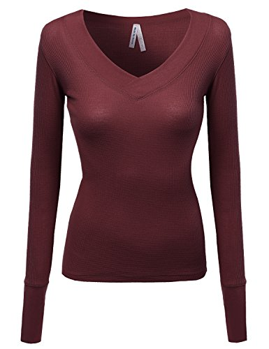 Layer Henley Tee - Basic Solid V-Neck Henley Lace Long Sleeves Thermal Tee Burgundy M
