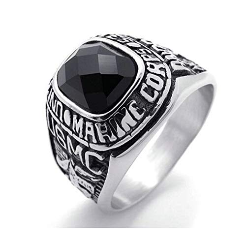 Aooaz Men's Ring Stainless Steel Ring Silver Black Princess Black Onyx Marine Corps Usmc Vintage ()