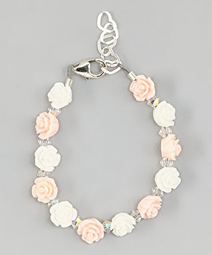 Flower Girl Pink, White Mini Flower Beads with Clear Swarovski Crystals Infant Bracelet (BFLPW_S) - Flowers White Crystal