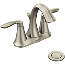Moen Eva Two-Handle Centerset Bathroom Faucet with Drain Assembly, Brushed Nickel (6410BN)