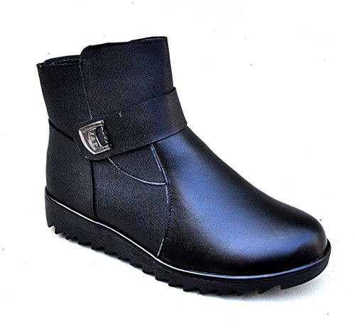 Liveinu Belt Women's 40 Boot Faux Leather Heel Ankle MqqBRr8wFH