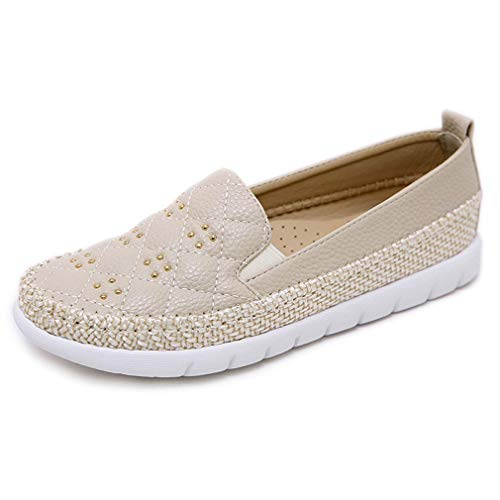 (CYBLING Women's Espadrilles Loafers Quilted Casual Flats Slip on Walking Driving Shoes Apricot)