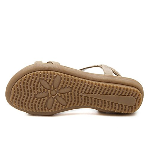 Estilo De Planas Correa Verano Las del del Beige Sandalias Pie Zapatos La del Boho La Sandalias De del Dedo Las Playa De De Mujeres De UAwx66q