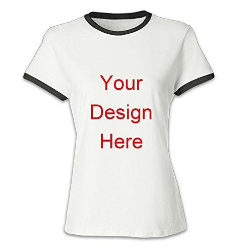 Custom T Shirts Tee Shirt Printing T Shirt Design Women's Classic Ringer T-Shirt (XX-Large, Black) ()