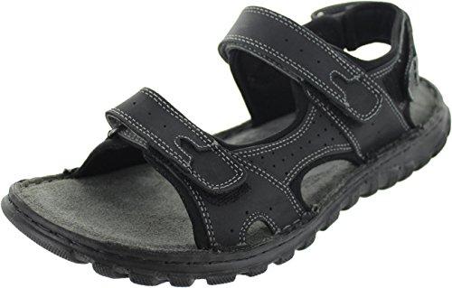Lotus quigley Black Leather Open Toe Raft Sandal Black