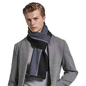 RIONA Men's Winter Cashmere Feel Australian Merino Wool Soft Warm Knitted Scarf with Gift Box