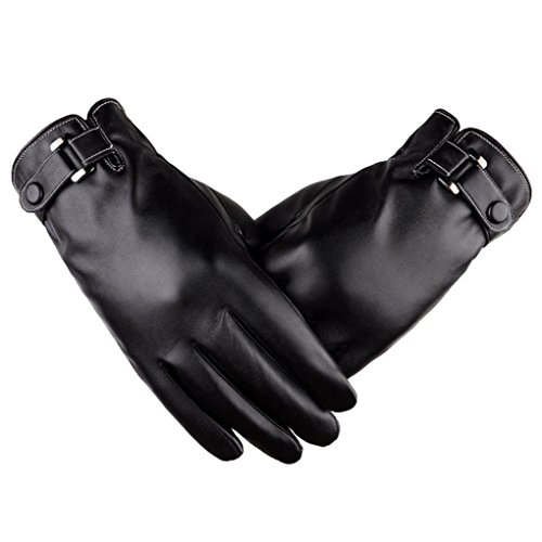 (Sunfei Men Anti Slip Snowboard Thermal Winter Sports Leather Touch Screen Gloves (Black))