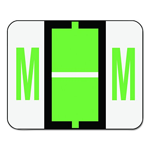 Smead 67083 A-Z Color-Coded Bar-Style End Tab Labels, Letter M, Light Green, 500 per Roll (Color Coded Colored Label Maker)