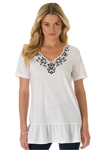 Roamans Women's Plus Size Embroidered Tee (White,1X)