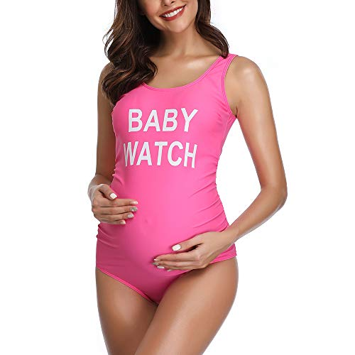 43347a4ea3dd3 Women Backless Maternity Swimsuit Letters Printed One Piece Pink Medium