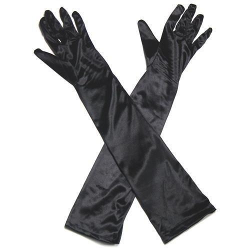 Topeakmart Ladies Long Satin Evening Party Gloves Fancy Dress Wedding Black US (Burlesque Jewellery)