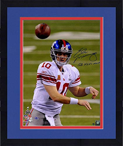 Framed Eli Manning Signed Super Bowl XLVI Throwing 16x20 Photo w/