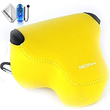 First2savvv amarillo Funda Cámara Reflex Neopreno Protectora para Sony Alpha a6500 ILCE-6500 (16-70mm lens) + Lector de tarjetas SD + Paño de limpieza ...