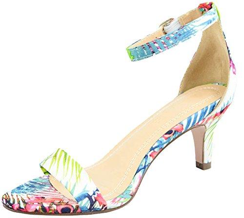 Cambridge Select Women's Open Toe Single Band Ankle Strappy Mid Heel Dress Sandal (8 B(M) US, - Heel Kitten Sandals