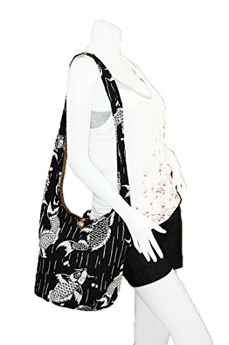 Cotton Gypsy Black Zip Hobo Carp Purse M949 Thai Medium Handmade Fish Koi Crossbody Boho Japanese Bag Sling Hippie Messenger Shoulder 6xxqfwORH
