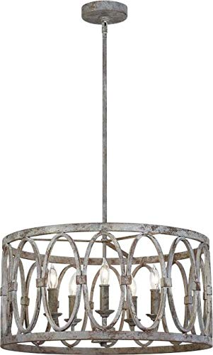 "Feiss F3222/5DA Patrice Candle Drum Chandelier, 5-Light 300 Watts (21"" D x 11"" H), Deep Abyss from Feiss"