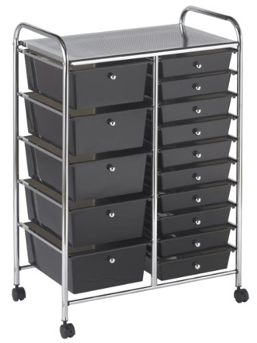 ECR4Kids 15-Drawer Mobile Organizer, Smoke by ECR4Kids