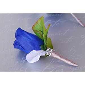 Boutonniere - Royal Blue Rose Silver Ribbon with White Petal Boutonniere with Pin for Prom, Party, Wedding 45