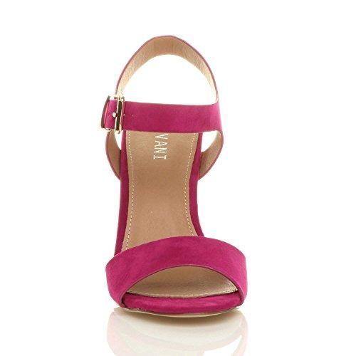Block Size Suede Heel High Sandals Ajvani Women Fuchsia Pink RwqBz114