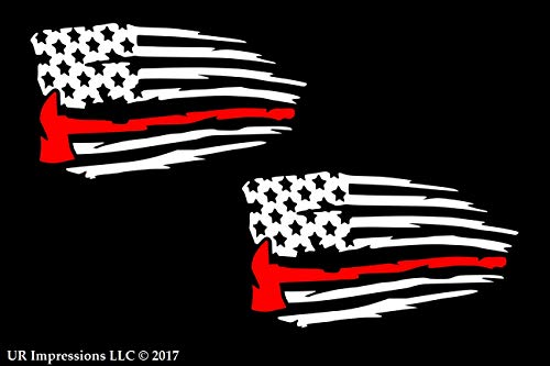 UR Impressions 3.6in. Thin Red Line Fireman's Axe - Tattered American Flag 2-Pack Decal Vinyl Sticker Graphics for Cars Trucks SUV Vans Walls Windows Laptop|White & RED|3.6 X 2.1 Inch|URI697]()