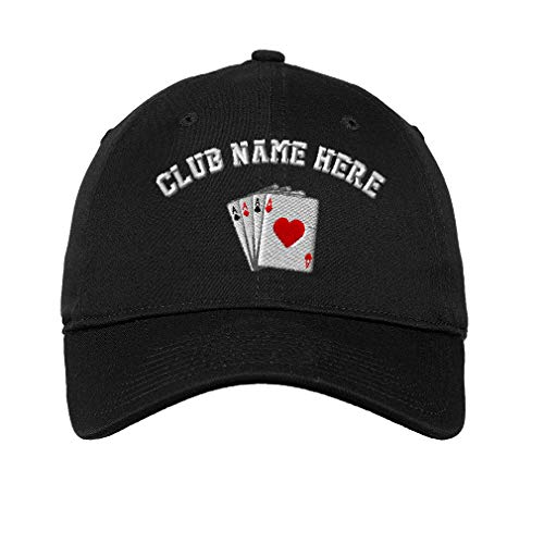 (Custom LowProfileSoft Hat Game Poker Cards As Logo Embroidery Club Cotton Dad Hat Flat Solid Buckle - Black, Personalized Text Here)