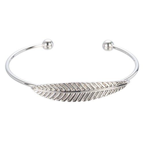 Leaf Cuff Bracelet (WeiVan Silver Feather Bracelet Leaf Open Cuff Bangle Bracelet Minimalist Nature Inspired Jewelry)