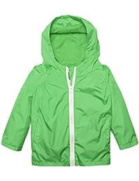 Arshiner Little Kid Waterproof Lightwight Jacket Outwear Raincoat with Hooded Green