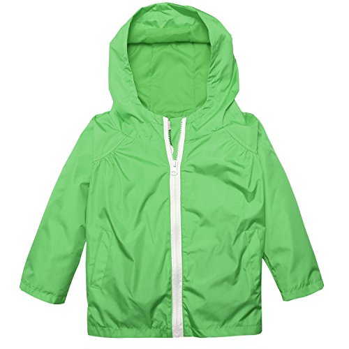 Arshiner Little Kid Waterproof Hooded Coat Jacket Outwear Raincoat,Green,Size 120