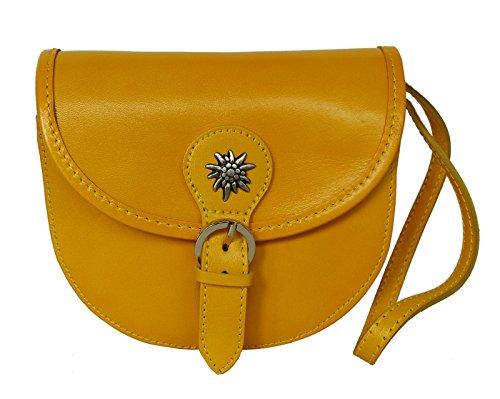 Elegante Echt Leder Trachtentasche mit Fleur des Lys oder Edelweiss fürs Dirndl - Rindsleder Edelweiss gelb / sonnenblume