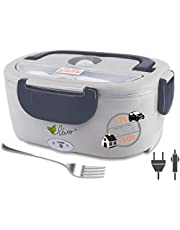 Heated Lunch Box for Men Women Kids, 12V/110V 2 in 1 Portable Electric Food Warmer Lunch Heater for Car, Home, Office with Removable Stainless Steel Food Container (Dark Gray)