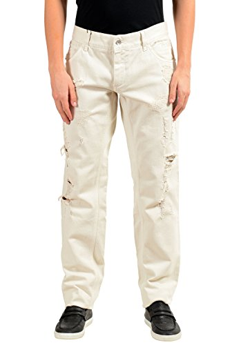 Dolce & Gabbana Men's Beige Distressed Straight Leg Jeans US 40 IT 56 - Dolce & Gabbana Straight Leg Jeans