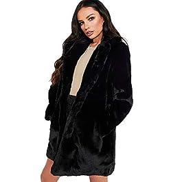 Lazzboy Women Coat Parka Jacket Faux Fur Warm Fluffy Notch Collar Dual Pocket Solid Outerwear