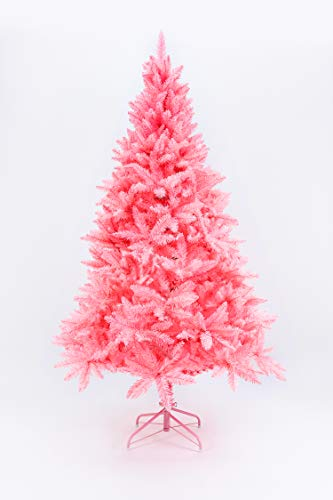 Artificial Christmas Tree Classic Xmas Pine Tree with Solid Metal Stand 5-6 FT Unlit Pink