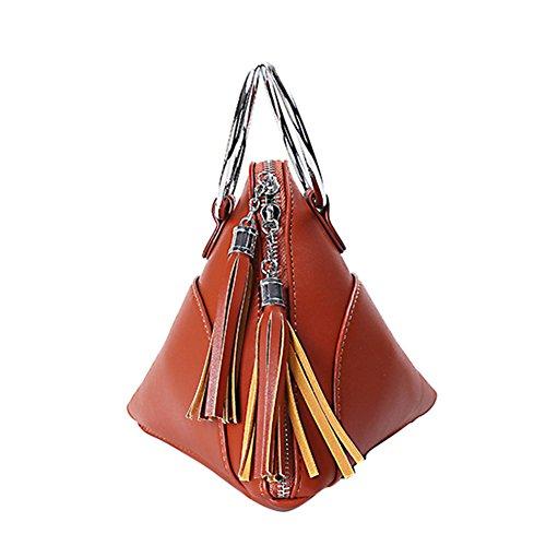 - LIZHIGU Women Leather Clutch Bag Triangle Wristlet Purse Cute Tassel Wallet Brown