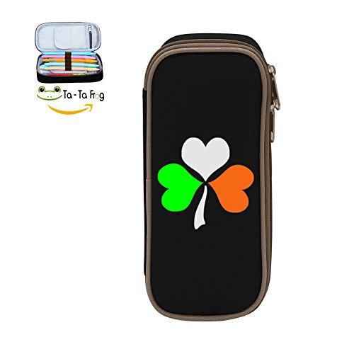bagshome Irish Shamrock St. Patricks Day Big Capacity Canvas Pen Box Portable for Student Black