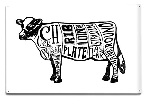 Lantern Press Beef - Butchers Block Meat Cuts - Black Cow on White (12x18 Aluminum Wall Sign, Wall Decor Ready to Hang)