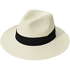 "Women Wide Brim Straw Panama Roll up Hat Fedora Beach Sun Hat UPF50+ Features   ""Lanzom"" brand registered, all rights reserved.  Breathable Cotton, soft and comfortable to wear  Exquisite workmanship and neat stitching Packable design for eas..."